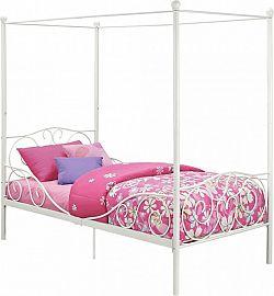 Tempo Kondela ová postel s nebesy, 90x200 cm ADELISA - bílá + kupón KONDELA10 na okamžitou slevu 3% (kupón uplatníte v košíku)
