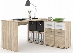 Tempo Kondela PC stůl RAFAEL NEW - dub sonoma/bílá + kupón KONDELA10 na okamžitou slevu 10% (kupón uplatníte v košíku)
