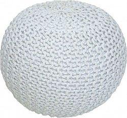 Tempo Kondela Pletený taburet GOBI TYP 1 - smetanová (bílý melír) bavlna + kupón KONDELA10 na okamžitou slevu 10% (kupón uplatníte v košíku)