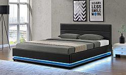 Tempo Kondela Postel BIRGET s RGB LED osvětlením  - černá + kupón KONDELA10 na okamžitou slevu 10% (kupón uplatníte v košíku)