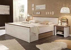 Tempo Kondela Postel LUMERA + 2x noční stolek - pinie bílá / dub sonoma truflový + kupón KONDELA10 na okamžitou slevu 10% (kupón uplatníte v košíku)