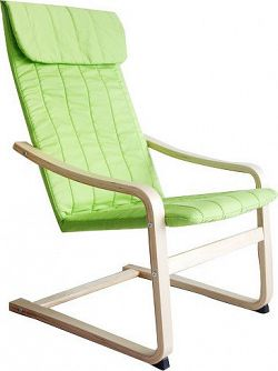 Tempo Kondela Relaxační křeslo TORSTEN - březové dřevo / zelená látka + kupón KONDELA10 na okamžitou slevu 10% (kupón uplatníte v košíku)