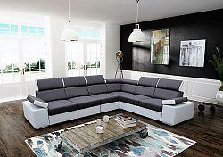 Tempo Kondela Rohová sedací souprava Marbela LUX, levá - šedá / bílá + kupón KONDELA10 na okamžitou slevu 10% (kupón uplatníte v košíku)