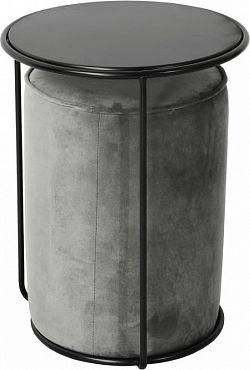 Tempo Kondela Set stolek a taburet LEILA - šedá Velvet látka/tmavě šedá + kupón KONDELA10 na okamžitou slevu 3% (kupón uplatníte v košíku)