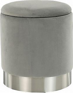 Tempo Kondela Taburet DARON - šedá Velvet látka/stříbrná chrom + kupón KONDELA10 na okamžitou slevu 3% (kupón uplatníte v košíku)