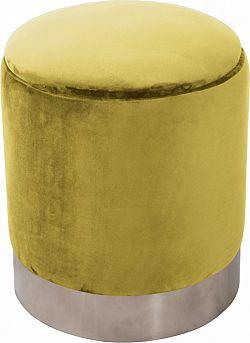 Tempo Kondela Taburet DARON - zlatá Velvet /stříbrná chrom + kupón KONDELA10 na okamžitou slevu 3% (kupón uplatníte v košíku)