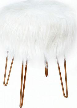 Tempo Kondela Taburet Jamin - bílá / zlatý nátěr + kupón KONDELA10 na okamžitou slevu 3% (kupón uplatníte v košíku)