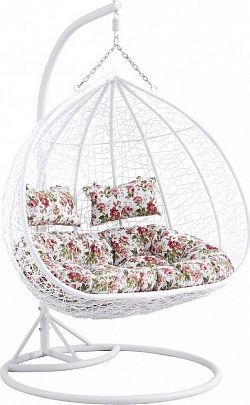 Tempo Kondela Závěsné dvojkřeslo DALVEA - bílá / vzor květiny + kupón KONDELA10 na okamžitou slevu 3% (kupón uplatníte v košíku)