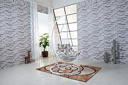 Tempo Kondela Závěsné křeslo KALEA - bílá/vzor květy + kupón KONDELA10 na okamžitou slevu 10% (kupón uplatníte v košíku)