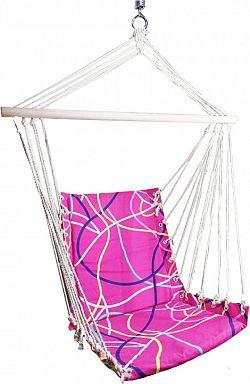 Tempo Kondela Závěsné křeslo KEROL - růžová / vzor + kupón KONDELA10 na okamžitou slevu 3% (kupón uplatníte v košíku)