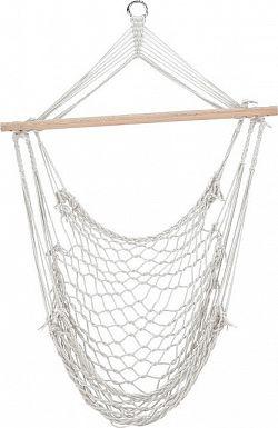 Tempo Kondela Závěsné křeslo LANTA - bavlna / dřevo / bílá + kupón KONDELA10 na okamžitou slevu 3% (kupón uplatníte v košíku)