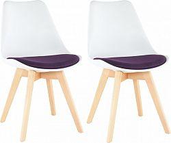 Tempo Kondela Židle DAMARA, 2 kusy - bílá/fialová + kupón KONDELA10 na okamžitou slevu 3% (kupón uplatníte v košíku)