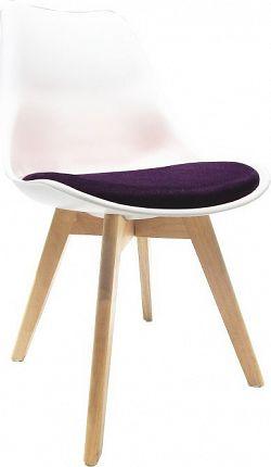 Tempo Kondela Židle DAMARA - bílá / fialová + kupón KONDELA10 na okamžitou slevu 10% (kupón uplatníte v košíku)