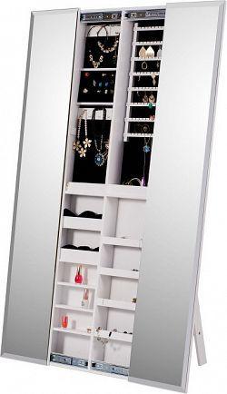 Tempo Kondela Zrcadlo s úložným prostorem na bižuterii ONEON, bílá + kupón KONDELA10 na okamžitou slevu 3% (kupón uplatníte v košíku)