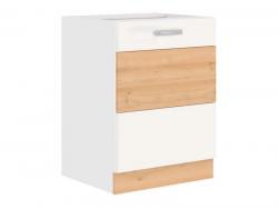 Dolní kuchyňská skříňka Iconic 60D1F, buk iconic/bílý lesk, šířka 60 cm
