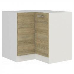 Dolní rohová kuchyňská skříňka Latte 90/90DN, dub latte/bílá, šířka 90/90 cm