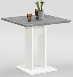 Jídelní stůl Bandol 1 70x70 cm, bílý/šedý beton