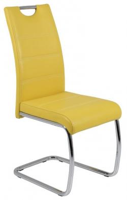 Jídelní židle Flora, žlutá ekokůže