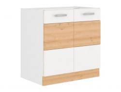 Kuchyňská dřezová skříňka Iconic 80ZL2F, buk iconic/bílý lesk, šířka 80 cm