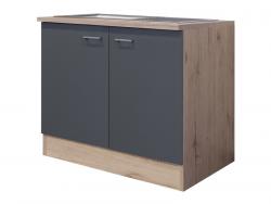 Kuchyňská skříňka s dřezem Tiago DSPU 100ES, dub sonoma/šedá, šířka 100 cm