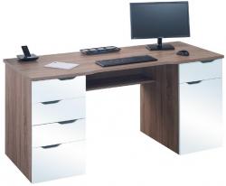 Psací stůl Model 9539, dub truffel/bílý lesk
