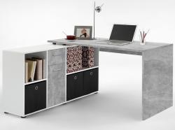 Psací stůl s regálem Lex, šedý beton/bílá