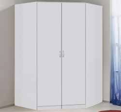Rohová šatní skříň Case, bílá