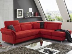 Rohová sedací souprava Avignon, červená látka, s funkcí rozkladu