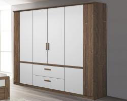 Šatní skříň Bernau, 226 cm, dub stirling/bílá, otočné dveře