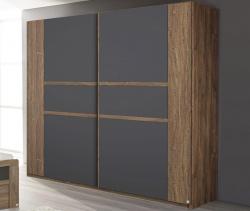 Šatní skříň Bernau, 226 cm, dub stirling/šedá
