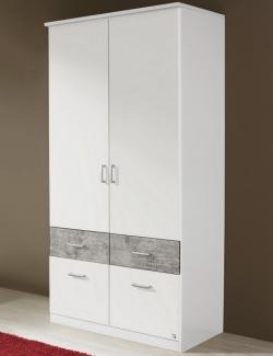 Šatní skříň Bremen, 91 cm, bílá/šedý beton