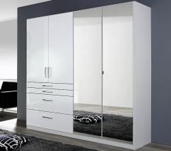 Šatní skříň Homburg, 181 cm, bílá/lesklá bílá