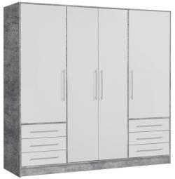 Šatní skříň Jupiter, 207 cm, šedý beton/bílá