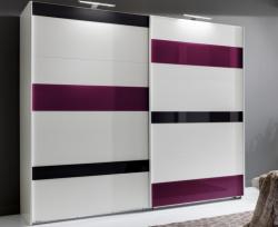 Šatní skříň Mondrian, 225 cm, bílá/šedá/fialová