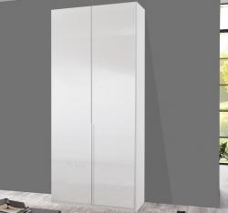 Šatní skříň New York D, 90 cm, bílá/bílý lesk