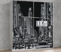 Šatní skříň Plagiato, bílá/motiv New York