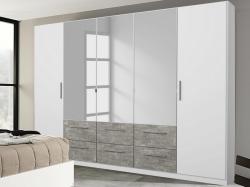 Šatní skříň Siegen, 226 cm, bílý/šedý beton