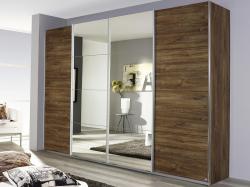 Šatní skříň Syncrono, 271 cm, dub stirling/zrcadlo