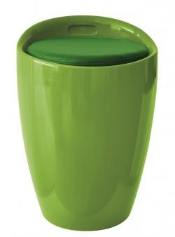 Taburet s úložným prostorem Hello, zelený