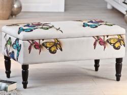 Úložná lavice Trondheim, bílá s motivem motýla