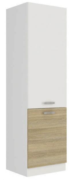 Vysoká kuchyňská skříň Latte 60DK-210, dub latte/bílý lesk, šířka 60 cm