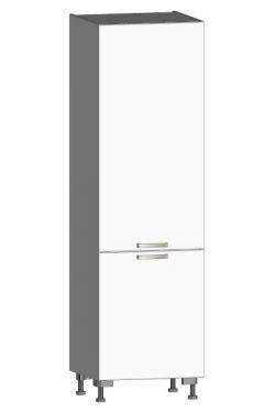 Vysoká kuchyňská skříň One PO60D, bílý lesk, šířka 60 cm