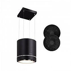 Klarstein Tron Ambience, ostrůvkový odsavač par, Ø 38 cm, recirkulace 540 m³/h, LED černý