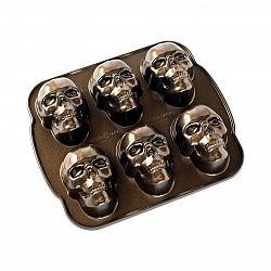Forma na 6 malých bábovek Lebky Bundt Nordic Ware bronzová