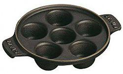 Staub Litinový talíř na šneky s 6 prohlubněmi černá 14 cm