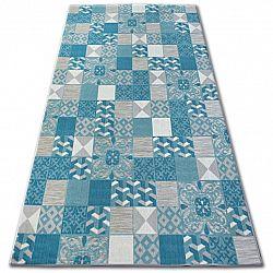 3kraft Kusový koberec LISBOA 27218/454 čtverce tyrkysový portugal