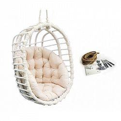 Cepkorb Závěsné houpací oválné křeslo Chill bílé s poduškou
