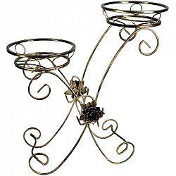 DekorStyle Kovový stojan na dva květináče- Austen