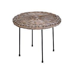 DekorStyle Kulatý ratanový stolek Kubu 61 cm hnědý