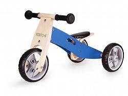 Dřevěná tříkolka Ecotoys Legy 2v1 hnědo-modrá